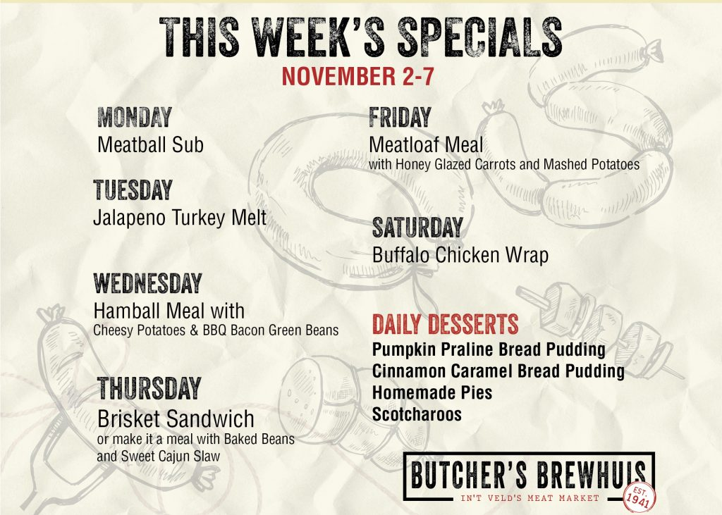 This Weeks Specials: Nov 2, 2020