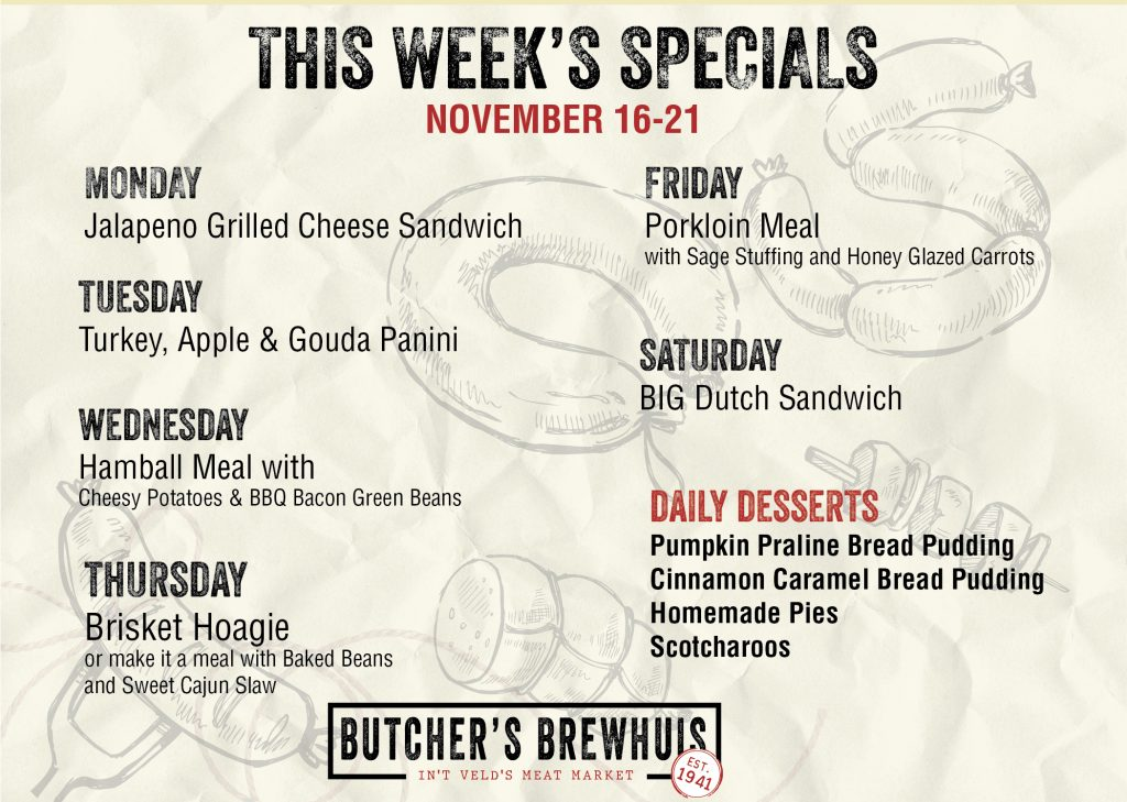 This Weeks Specials 11-16-2020