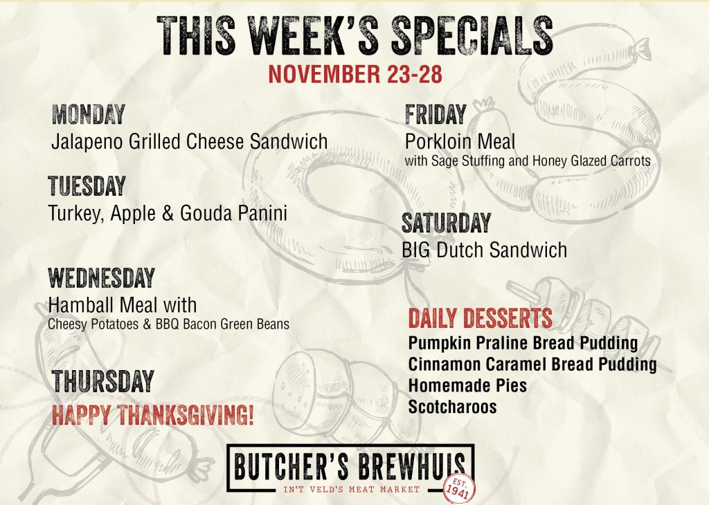 This Weeks Specials 11-23-2020